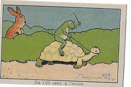 CHROMO ILLUSTRATEUR BENJAMIN RABIER  DU 120 CENT ..A L HEURE  TOTUE  GRENOUILLE ET LAPIN - Trade Cards