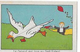 CHROMO ILLUSTRATEUR BENJAMIN RABIER   LE CANARD JOUE AU CERF VOLANT - Trade Cards