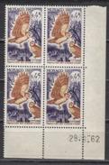 MONACO 1962 - BLOC DE 4 TP  Y. T. N° 587 - COIN DE FEUILLE / DATE / NEUFS ** - Mónaco