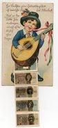 Y6531/ Geburtstag AK Mit Leporello Geldscheine Junge Mit Gitarre Ca.1930 - Monnaies (représentations)