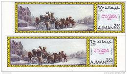 Ajman, Mail Coach Painting 1v. PERF + IMPERF Marginal Compl.set MNH Superb, Nice Topical Set- - Ajman