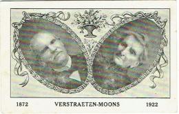 Faire-Part, Carte Postale. Couple. Verstraeten-Moons. 1872/1922. Post-Mortem. - Généalogie