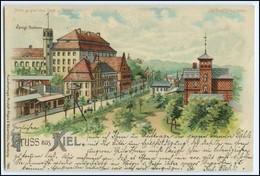 N8522/ Gruß Aus Kiel  Meteor Halt Gegen Licht Litho AK 1899 - Contre La Lumière