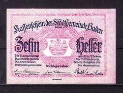 Notgeld, Stadtgemeinde Baden, 10 Heller, 1920 (42865) - Oesterreich
