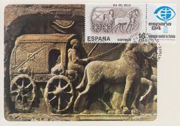 Carte Maximum  1er  Jour   ESPAGNE   JOURNEE  Du  TIMBRE   Ancien  Chariot  Romain  Postal   1983 - Diligences