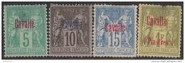 5c 10c 15c 1Fr Cavalle Neuf (*) Défectueux (Cote Dallay *: +220€) - Cavalle (1893-1911)