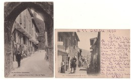 """64 - SAINT-JEAN-PIED-DE-PORT . """" RUE DE L'EGLISE """" & """" RUE D'ESPAGNE """" . 2 CARTES POSTALES - Réf. N°5049 - - Saint Jean Pied De Port"""