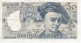 BILLETE DE FRANCIA DE 50 FRANCOS DE QUENTIN DE LA TOUR DEL AÑO 1991 SERIE O (BANKNOTE) - 1962-1997 ''Francs''