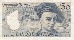 BILLETE DE FRANCIA DE 50 FRANCOS DE QUENTIN DE LA TOUR DEL AÑO 1992 SERIE H (BANKNOTE) - 1962-1997 ''Francs''