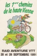 FRANCE - CP RAID AVENTURE VTT 28-29.09.1991 - LES 1ers CHEMINS DE LA HAUTE VIENNE /5 - Mountain Bike