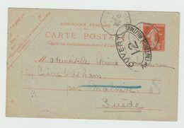 1917 - ENTIER POSTAL SEMEUSE Pour La SUEDE Avec CENSURE MILITAIRE - Postmark Collection (Covers)