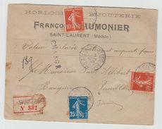 1910 - ENVELOPPE COMMERCIALE CHARGEE De SAINT LAURENT (GIRONDE) Avec SEMEUSE - Storia Postale