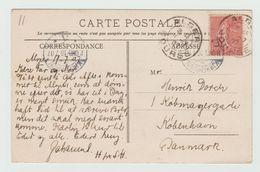1907 - CP De ALGER Pour Le DANEMARK Avec SEMEUSE LIGNEE - Storia Postale