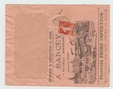 1913 - ENVELOPPE ILLUSTREE De BESANCON (DOUBS) Avec SEMEUSE - EPICERIE A. SANCEY - 1877-1920: Semi Modern Period