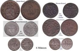 DL-Hessen, 6 Münzen, Lot3 - [ 1] …-1871 : Stati Tedeschi