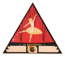 """06864 """"A.G.F. - LA BALLERINA""""  ETICHETTA ORIGINALE PER FILATI/TESSUTI - ORIGINAL LABEL FOR THREADS - Adesivi"""