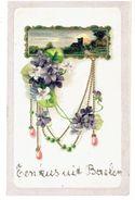 Een Kus Uit BAELEN-NETHE - Tekst Gemaakt Met Glinsters - Kaart In Rélief - Verzonden 1907 In Baelen-Nethe - Balen