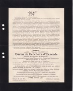 WETTEREN Burgemeester Abel Baron De KERCHOVE D'EXAERDE Ancien Député Gand 1839-1914 - Avvisi Di Necrologio