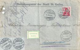 """Motiv Brief  """"Betreibungsamt Stadt St.Gallen"""" - Zürich  (unbekannt)           1909 - Lettres & Documents"""