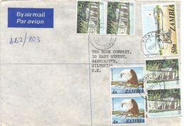 Zambia 1978 Kitwe Waterfall Fish Eagle Airplane Barclays Registered Cover - Zambia (1965-...)