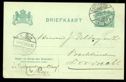 HANDGESCHREVEN BRIEFKAART Uit 1906 Voordruk NVPH 55 Van DEN HAAG Naar DORDRECHT  (10.656k) - Postwaardestukken