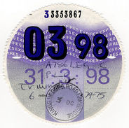 (I.B) GB Revenue : Car Tax Disc (Triumph 1998) - Transportation
