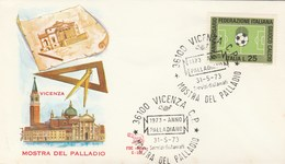 1973 Venice  PALLADIAN ARCHITECTURE EVENT COVER Italy Stamps Football Soccer Sport - Architecture
