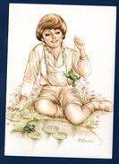Fillette Jouant Avec Des Grenouilles. Illustration F. Sepahban. 1987 - Enfants