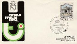 1974 TRENO ITALIA RAILWAY EVENT COVER Italy Stamps Train - Trains