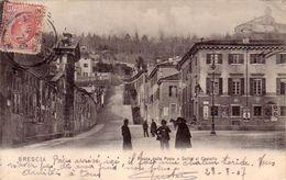 BRESCIA-PIAZZA DELLA POSTA E SALITA AL CASTELLO-CARTOLINA VIAGGIATA IL 28-08-1907 - Brescia