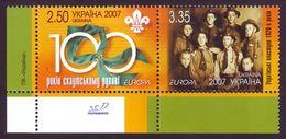 UKRAINE 2007. EUROPA. 100 YEARS OF SCOUTING. Mi-Nr. 856-57 Se-tenant, Left Bottom Corner Of Sheet. MNH (**) - Europa-CEPT