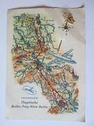 Interflug/Berlin-Prag-Wien-Berlin,DDR/Communist Germany Unused Postcard With Badge From The 70s - Aerodromes