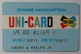 USA - Chase Manhattan - Uni-Card - Credit Card - Pre Visa - Expired Aug 72 - Used - Credit Cards (Exp. Date Min. 10 Years)