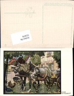553078,Künstler AK Hosse Tiere Pferd Pferde Tränke - Pferde