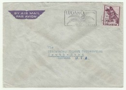 CHCV023 Switzerland 1947 Lugano Airmail Cover With Slogan Franking Definitive 70c Fighting Soldier Tp Indiana USA - Switzerland