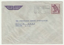 CHCV024 Switzerland 1947 Lugano Airmail Cover With Slogan Franking Definitive 70c Fighting Soldier Tp Indiana USA - Switzerland