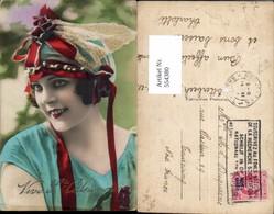 554380,tolle Foto-AK Frau Mode Portrait Haube Haarschmuck Art Deco - Mode