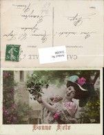 554398,Foto-AK Frau Mode Hut Hutmode Blumen Halskette Perlenkette - Mode