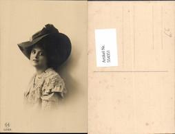 554351,tolle Foto-AK Frau Mode Portrait Hut Hutmode - Mode