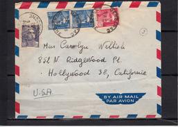 Lettre De BERGERAC  Dordogne Le 19 6 1952  Pour HOLLYWOOD U.S.A.  Mne De GANDON 15f Outr Paire +18f Rose + 5f Violet - 1945-54 Marianne Of Gandon