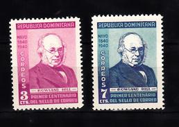 Dominica Rep. 1940 Mi Nr 370 + 371 : 100 Jaar Postzegels, Rowland Hill, Postfris Met Lichte Plakresten - Dominican Republic