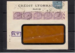 """BLANC 10c Violet BANDE De 5  + SEMEUSE 1f Bleu  Sur Lettre De PARIS 108  Annee 1931 Entete PUB """" Credit Lyonnais """" - 1900-29 Blanc"""