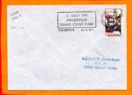 SEINE MME, Doudeville, Flamme à Texe, Grand Corso Fleuri, 15 Aout 1991 - Annullamenti Meccanici (pubblicitari)