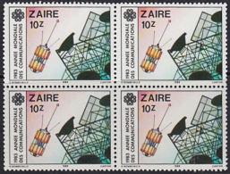 A5838 ZAIRE 1984, SG 1183  10K World Communications Year, Satellite, MNH Block Of 4 - Zaire