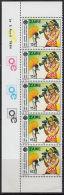 B5368 ZAIRE 1984, SG 1184  15K World Communications Year, Video Camera, MNH Traffic Light Strip Block Of 5 - Zaire