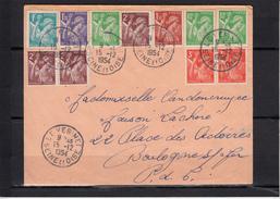 IRIS  Affranchissement De 11 Timbres  Sur Lettre De LE VESINET Seine Et Oise Le 15 12 1954 Pour BOULOGNE Sur MER - 1939-44 Iris