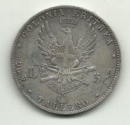 1891 - Italia - Colonia Eritrea - 5 Lire - RICONIO, - 1861-1946 : Kingdom