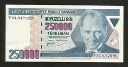TURKEY - NATIONAL BANK - 250000  LIRA (1998) - Turchia