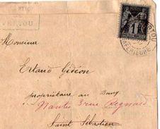 TB 2255 - LAC - Lettre De La Perception De VERTOU Pour SAINT SEBASTIEN - NANTES - Marcophilie (Lettres)