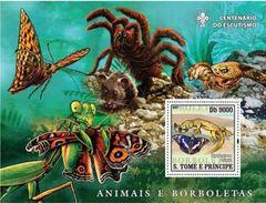 S. TOME & PRINCIPE 2007 - Butterflies, Spider S/S - Spinnen